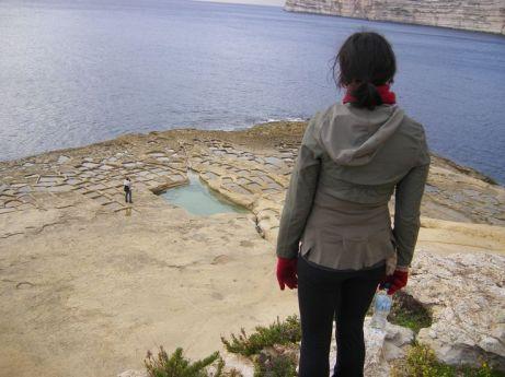 Looking down on Xlendi salt pans from Xlendi tower