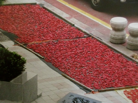 Drying chilies in Chinatown, Incheon