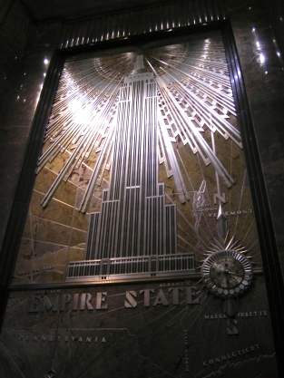 At the entrance to the Empire State Building