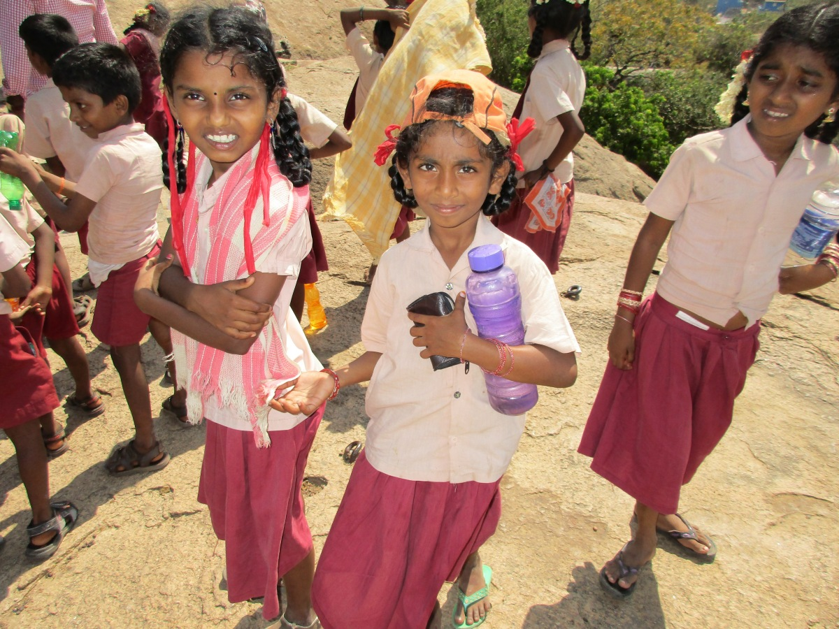 School children on the heritage trail