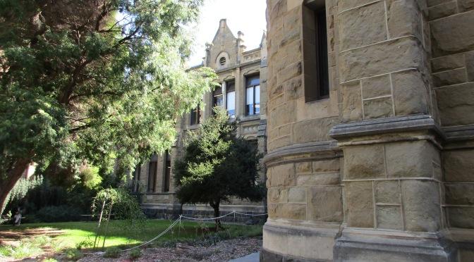 Through university grounds