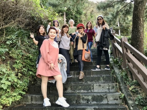 Malaysians climbing Seongsan Illchulbong Peak