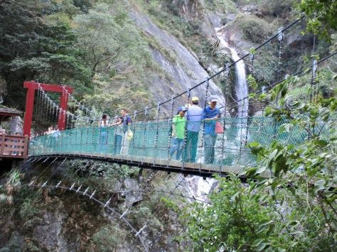Baiyang Waterfall and suspension bridge